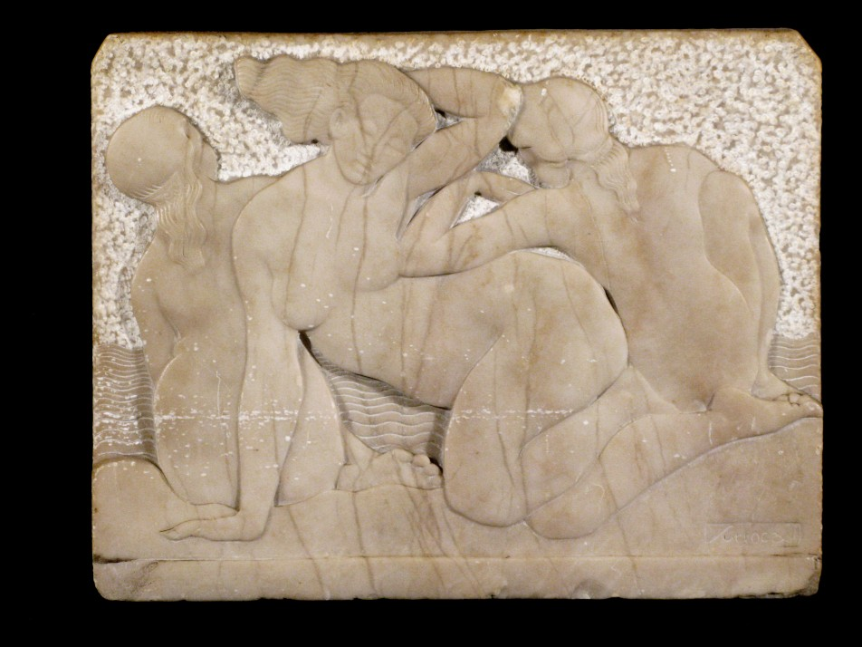 Three Female Figures With Relief