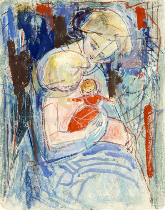 Mother with child in arms